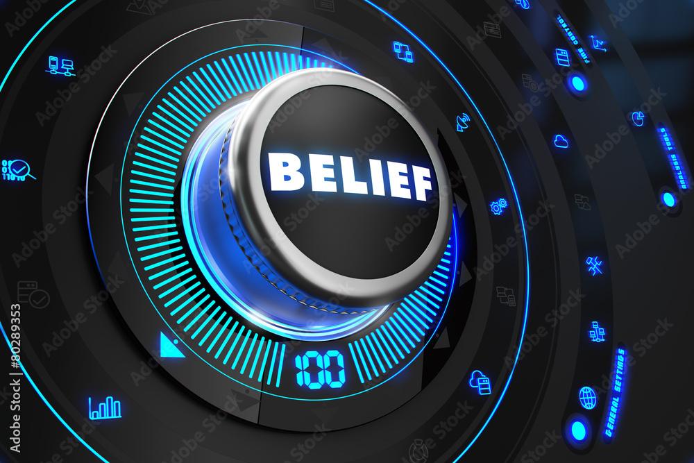 Fototapeta Belief Button with Glowing Blue Lights.