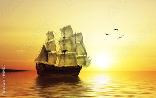 In de dag Schip Sailboat against beautiful sunset landscape