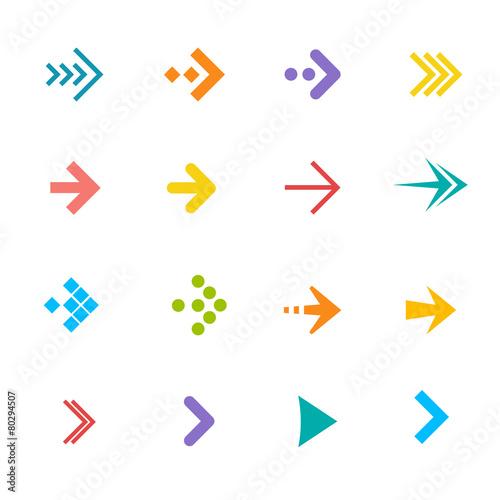 Fototapeta Vector colorful arrows set. Flat Design obraz na płótnie