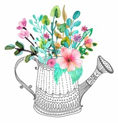 Naklejka Watercolor flowers and doodle watering can