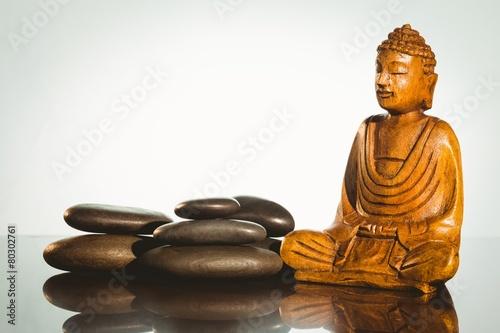 Recess Fitting Buddha Wooden buddha statue with balancing pebbles