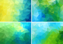 Blue And Green Low Poly Backgr...