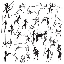 Set Of Vector Rock Paintings W...