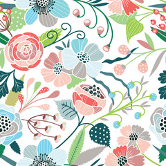 Panel SzklanySeamless floral pattern