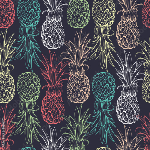 Carta da parati Pineapples seamless pattern