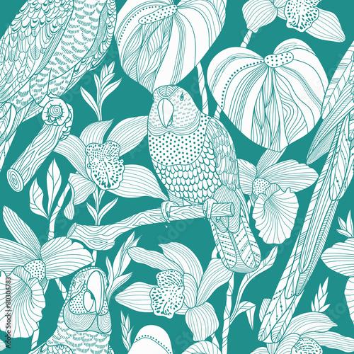 Papugi i tropikalne kwiaty. Wektor wzór