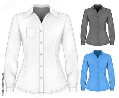 Formal long sleeved blouses for lady. Canvas Print