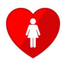 Icono Corazon Con Simbolo Mujer