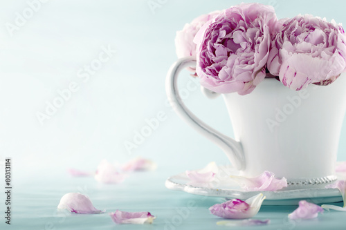 Photo Pink peony flowers