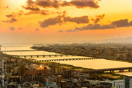 View at Osaka Bay from Umeda Sky Building