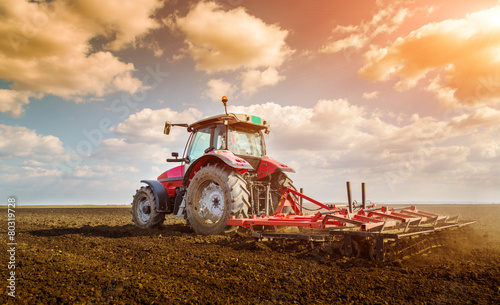 Obraz na plátne Farmer in tractor preparing land with seedbed cultivator