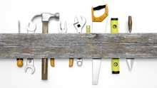 Various Tools And Wood With Co...