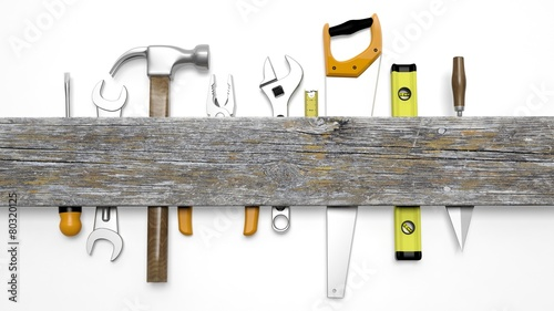 Obraz Various tools and wood with copy space, isolated on white - fototapety do salonu