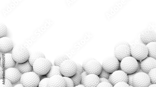 Foto op Aluminium Bol Golf balls pile with copy-space isolated on white background