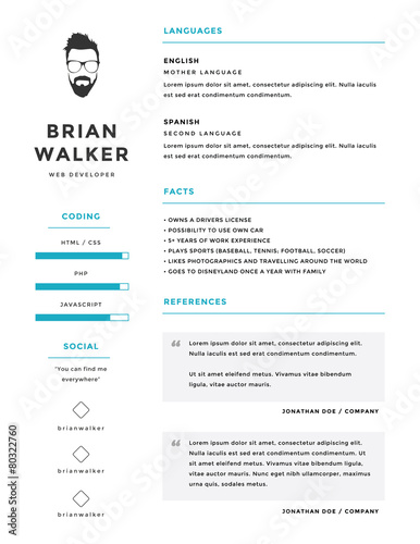 clean and minimalistic personal vector resume    cv