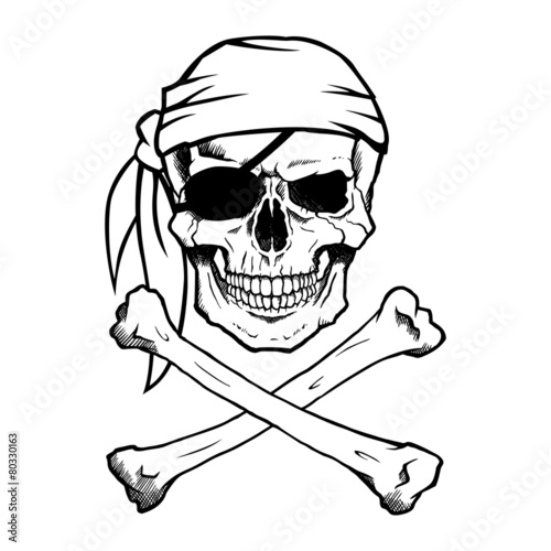 Jolly Roger pirate skull and crossbones фототапет