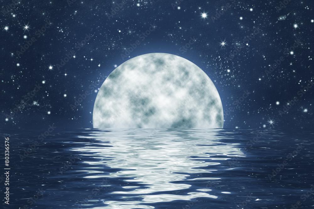 Vollmond Ein Sternen Himmel Mit Spiegelung In Wasser Hintergrund