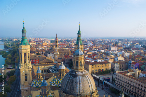 View over the cityscape of spanish city zaragoza