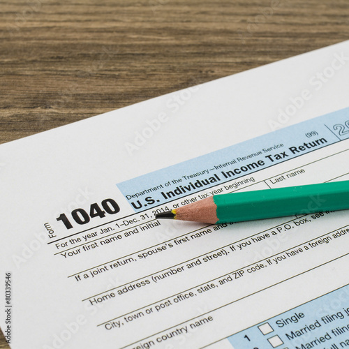 Us Individual Income Tax Return Form 1040 With Pencil Buy This
