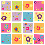 Colorful abstract flowers square pattern wallpaper