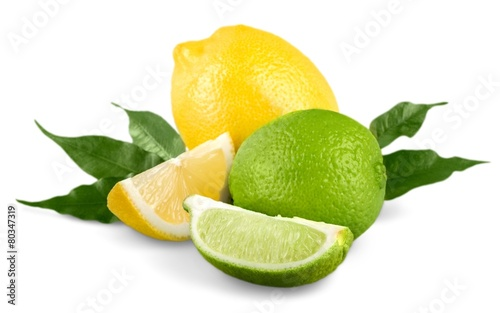 Lemon. collection of fresh limes and lemons - collage
