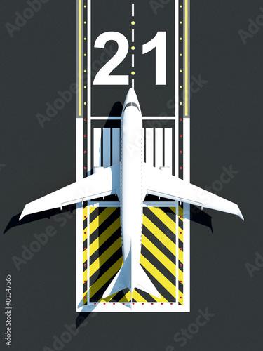 Top View of Airplane Waiting on Airport Runway  Passenger