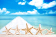 white starfish with ocean, white sand beach, sky and seascape