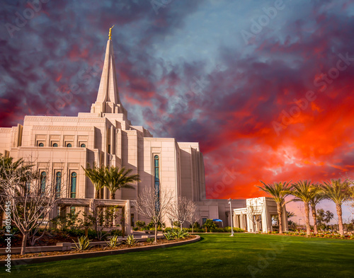 Montage in der Fensternische Tempel Mormon Temple in Gilbert Arizona