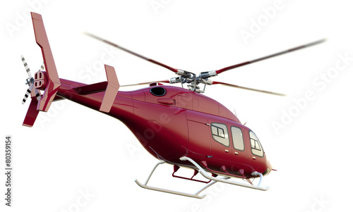 Fotografie, Obraz  Red Rescue Helicopter. Isolated with Clipping Path.