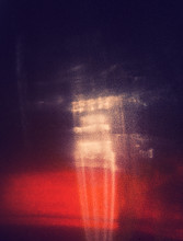 Red Highlight On The Wall, Abstract Background, Cross Processed