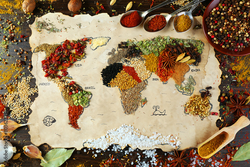 Photo Stands Spices Map of world made from different kinds of spices