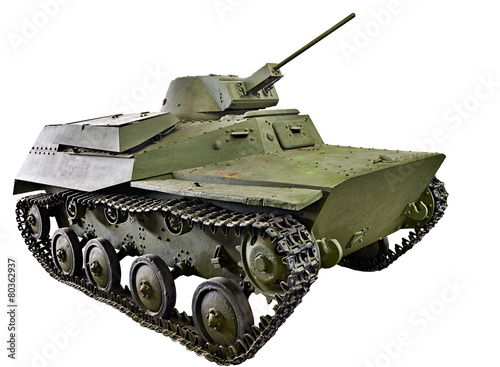 Poster  Soviet small amphibious tank T-40 isolated