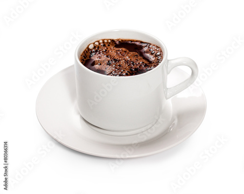 isolated white cup of hot chocolate.