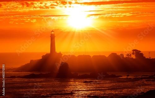 Stickers pour portes Orange eclat California Lighthouse Sunset