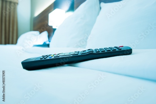 TV Remote Control in Hotel Canvas Print