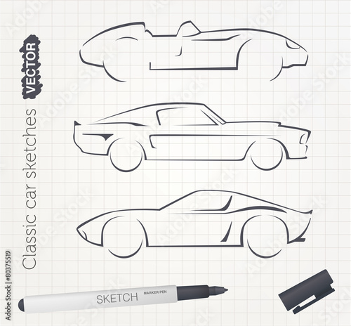 Photo  Vector sports car sketches