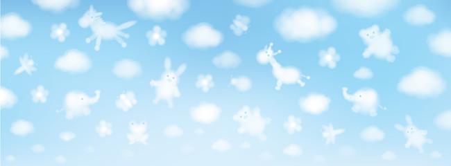 Vector sky background, cute animals cartoons.