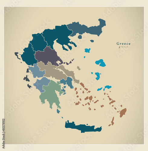 Canvas Print Modern Map - Greece with regions GR