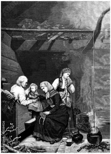 Peasants : Family Scene - 19th century Wallpaper Mural