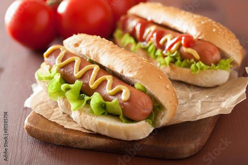 Carta da parati hot dog with ketchup mustard and lettuce