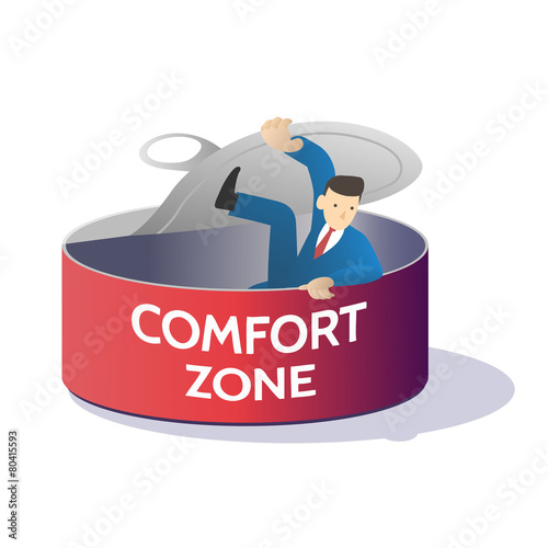 Fotografie, Obraz  comfort zone can there is business man inside