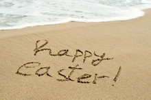 Happy Easter Written In The Sa...
