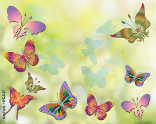 Tuinposter Beautiful butterflies design