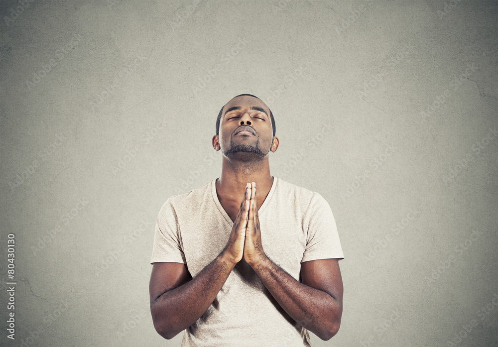 Fototapety, obrazy: man praying hands clasped hoping for best gray background