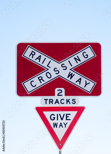 railway crossing sign - Buy this stock photo and explore