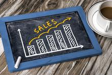 Sales Graph Hand Drawing On Blackboard