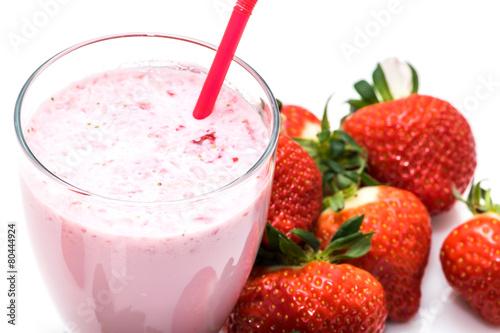 Foto op Plexiglas Milkshake Milkshake fraise