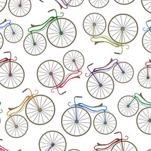 Colored Bycicle Pattern. Vec