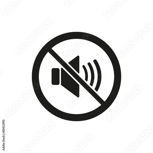 The no sound icon. Volume Off symbol. Flat Wall mural
