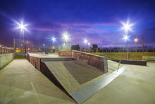 Skate Park In Gdansk At Dusk, ...